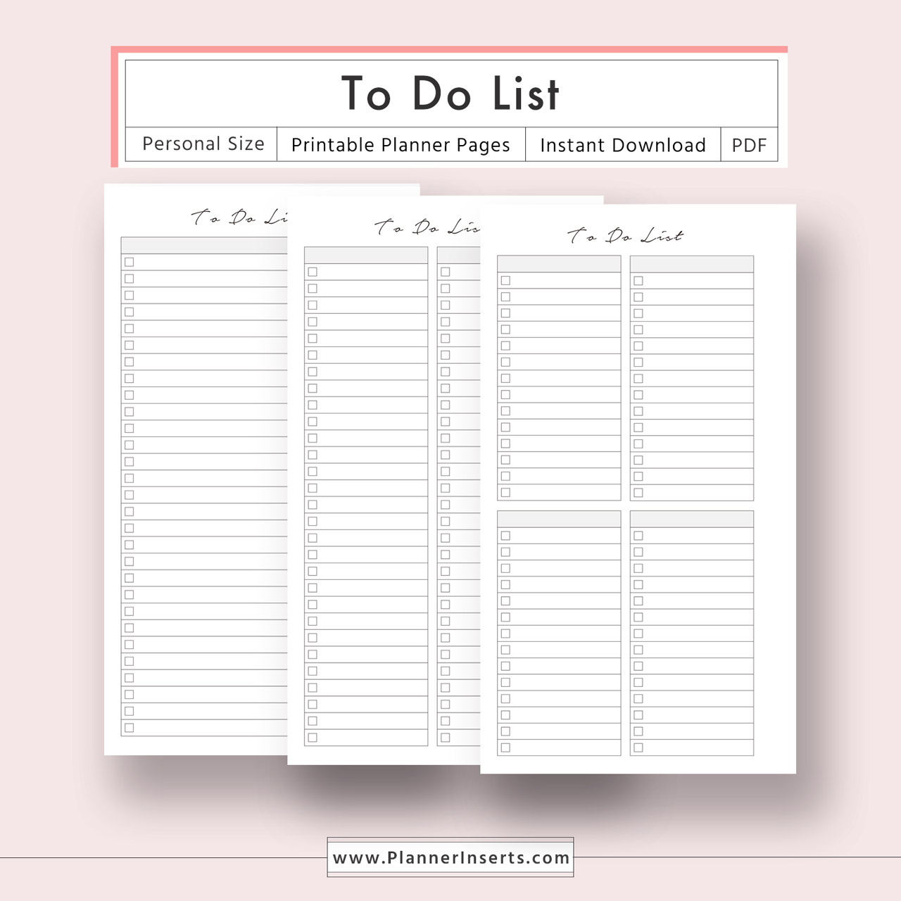 picture about Planner Refills identified as Toward Do Record for Limitless Quick Down load - Electronic Printable Planner Inserts inside of .PDF Layout - Particular person Dimensions - In the direction of Do List, Toward Do Listing Template -