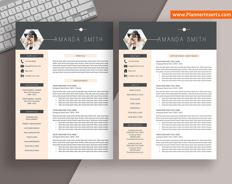 modern resume template  cover letter  office word resume