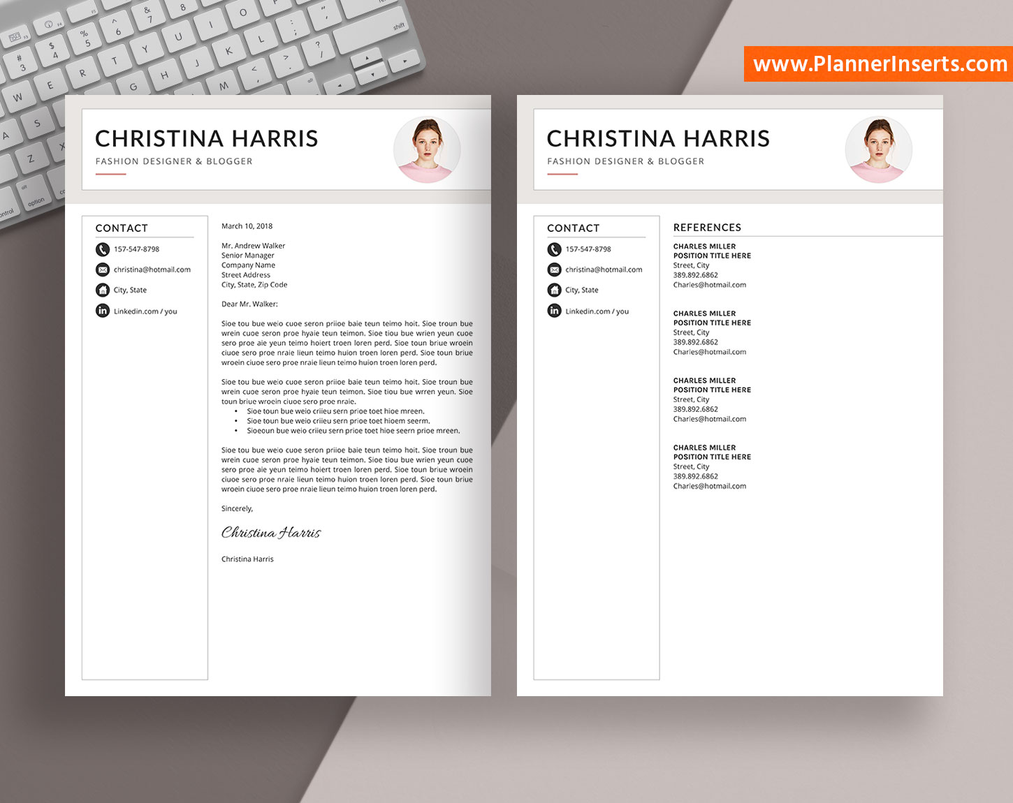 editable professional resume bundle  cover letter  simple cv template  office word resume