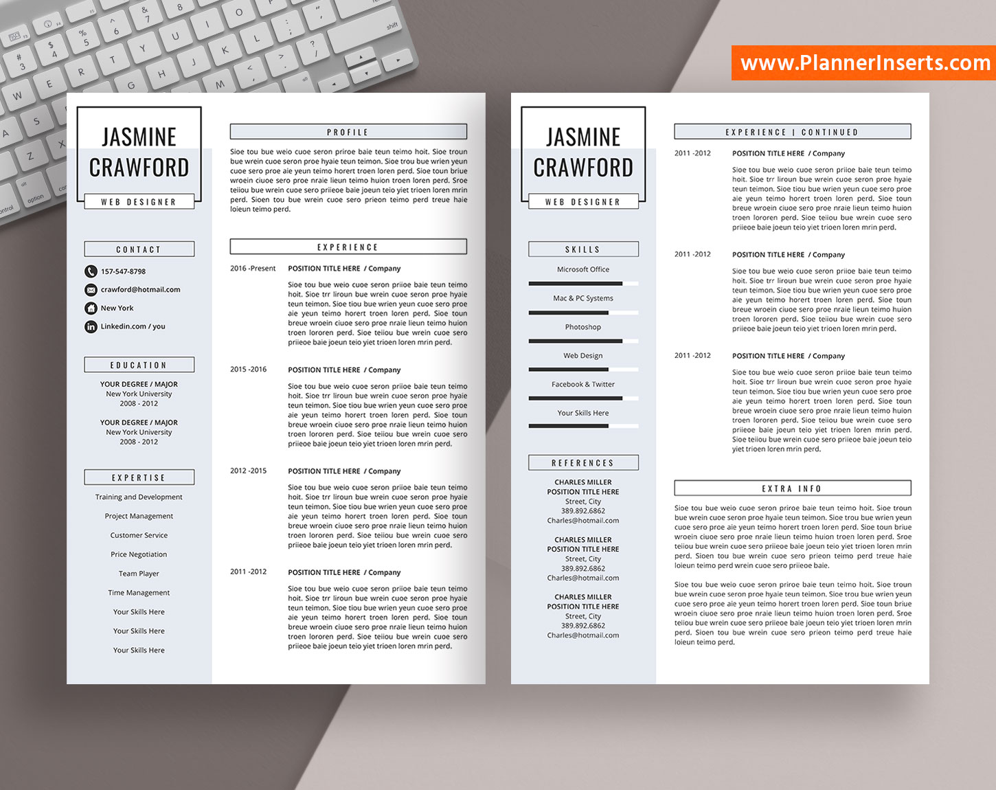 professional resume template word  cover letter  simple cv