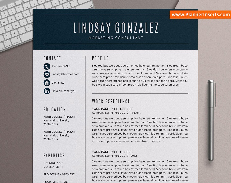 editable professional resume bundle  cover letter  simple