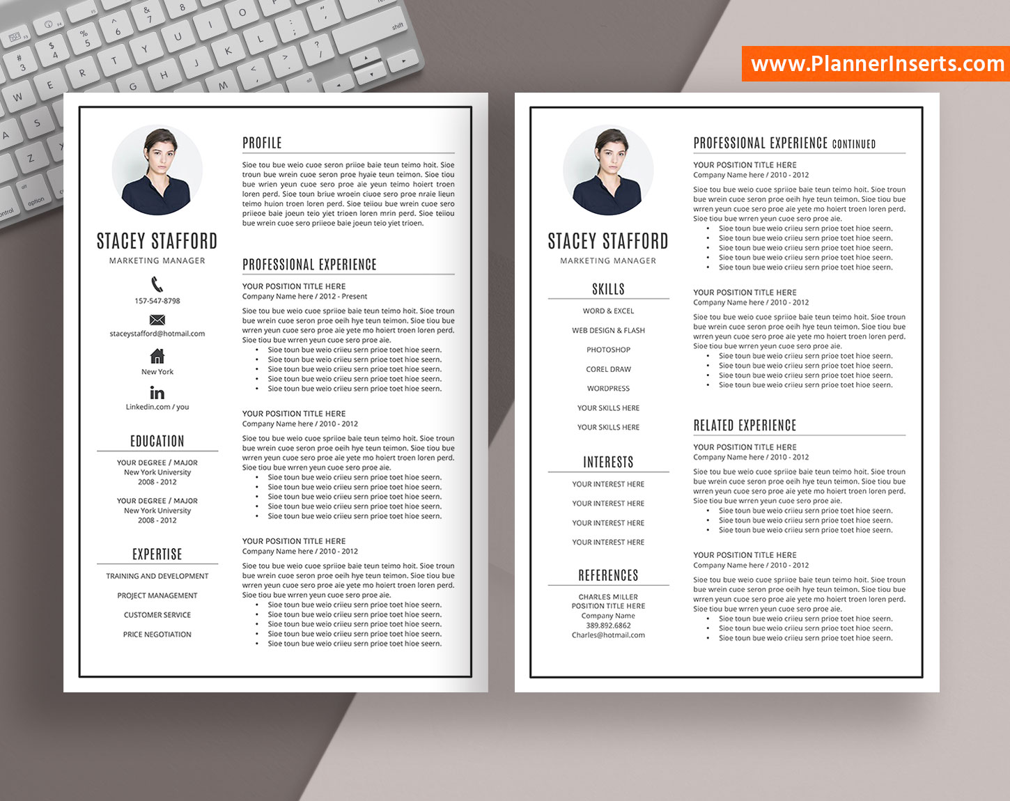 editable professional resume template  cover letter