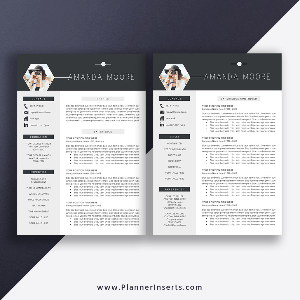 Best Resume Template 2020, Cover Letter, Office Word Resume, CV Template,  Editable Resume, Simple & Professional Resume, Instant Download: Amanda ...