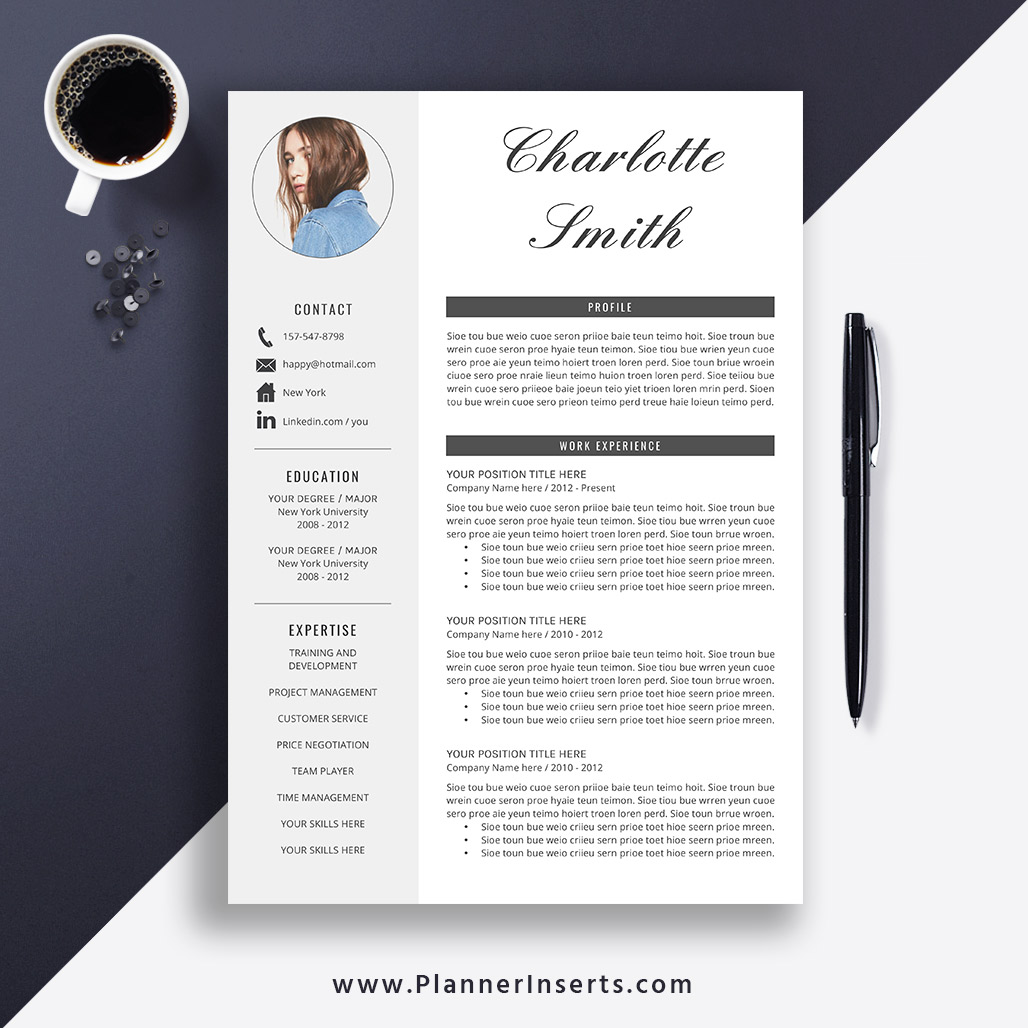 Professional Clean Resume Template 2019 Cover Letter Office Word Simple CV Creative Modern Instant Download Charlotte