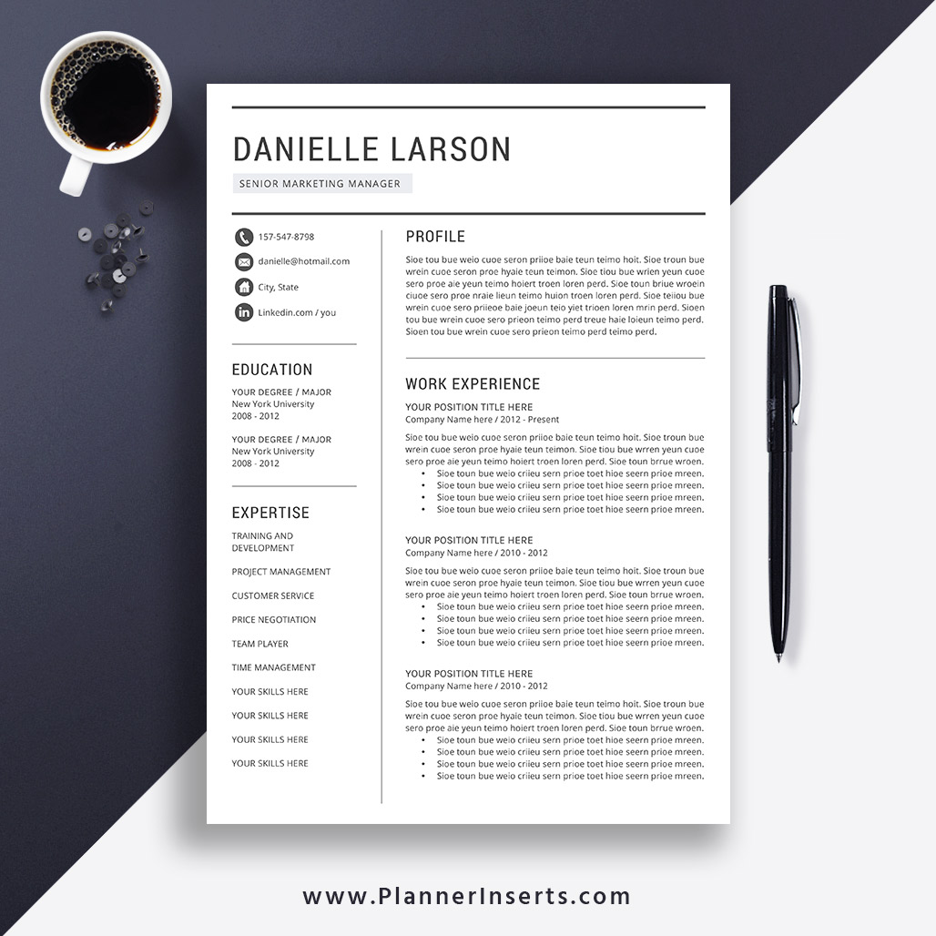 Professional Resume Template Word, Cover Letter, 1-3 Page