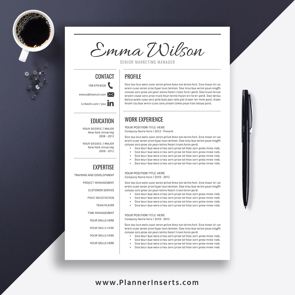 Professional Simple Resume Template Word 2019 Cover Letter College Resume Simple Cv Template Creative Modern Resume Instant Download Emma