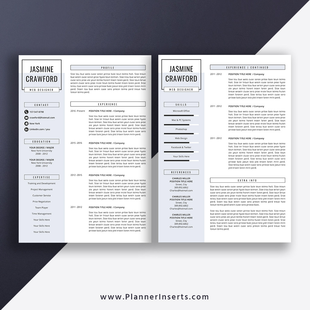 Editable Professional Resume Bundle 2019, Cover Letter
