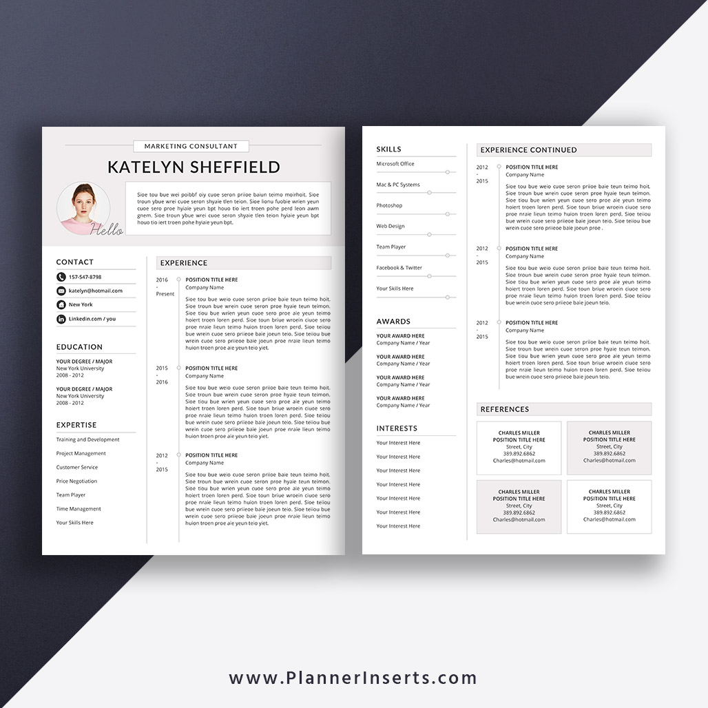 professional resume template  cover letter  office word