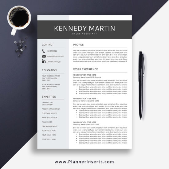 editable professional resume template 2019  cover letter