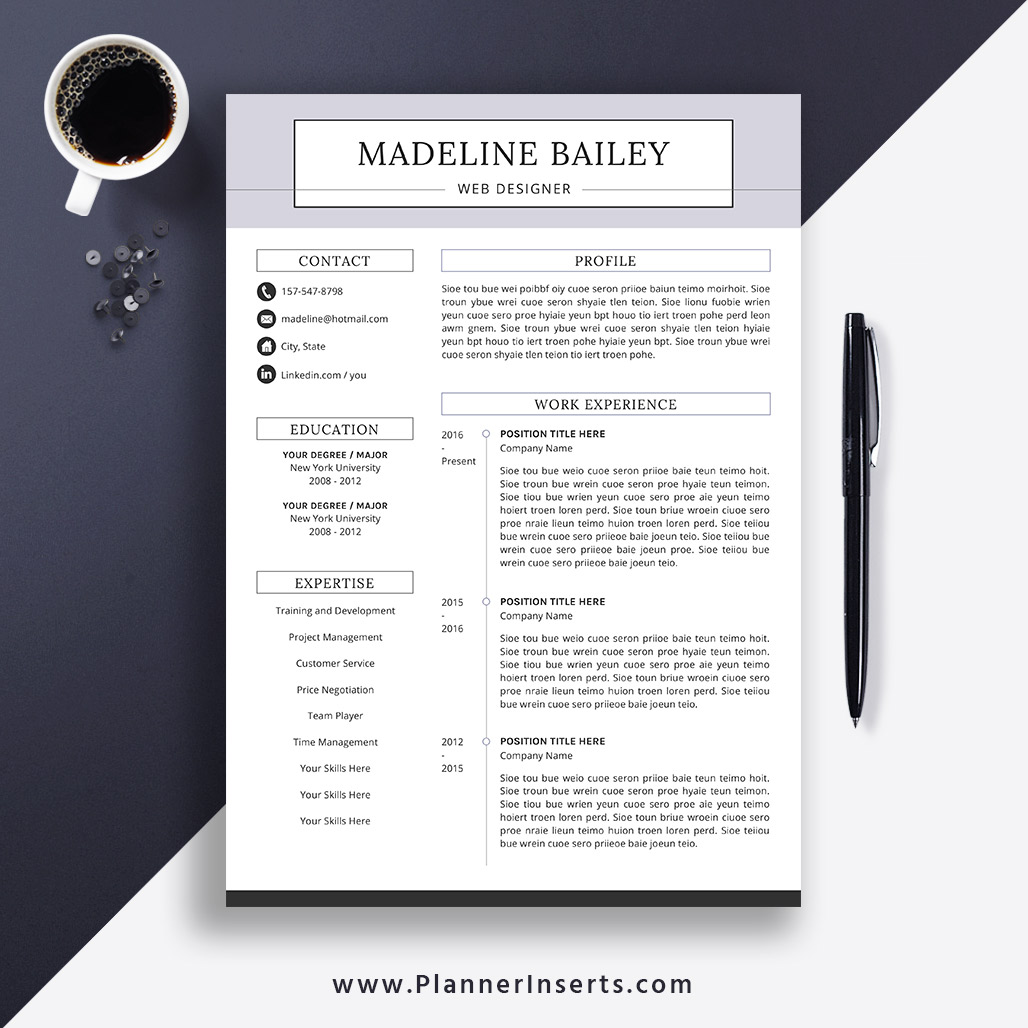 Editable Professional Resume Template 2019, Cover Letter, Office Word  Resume, Simple CV Template, Creative & Modern Resume, Instant Download:  Madeline ...