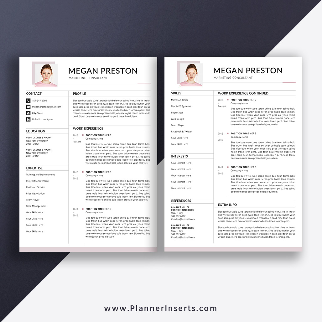 creative resume template 2020  cover letter  office word