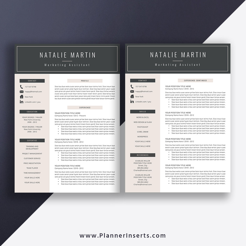 Editable Professional Resume Bundle 2019 Cover Letter Simple Cv Template Office Word Resume Creative Modern Resume Design Mac Pc Instant