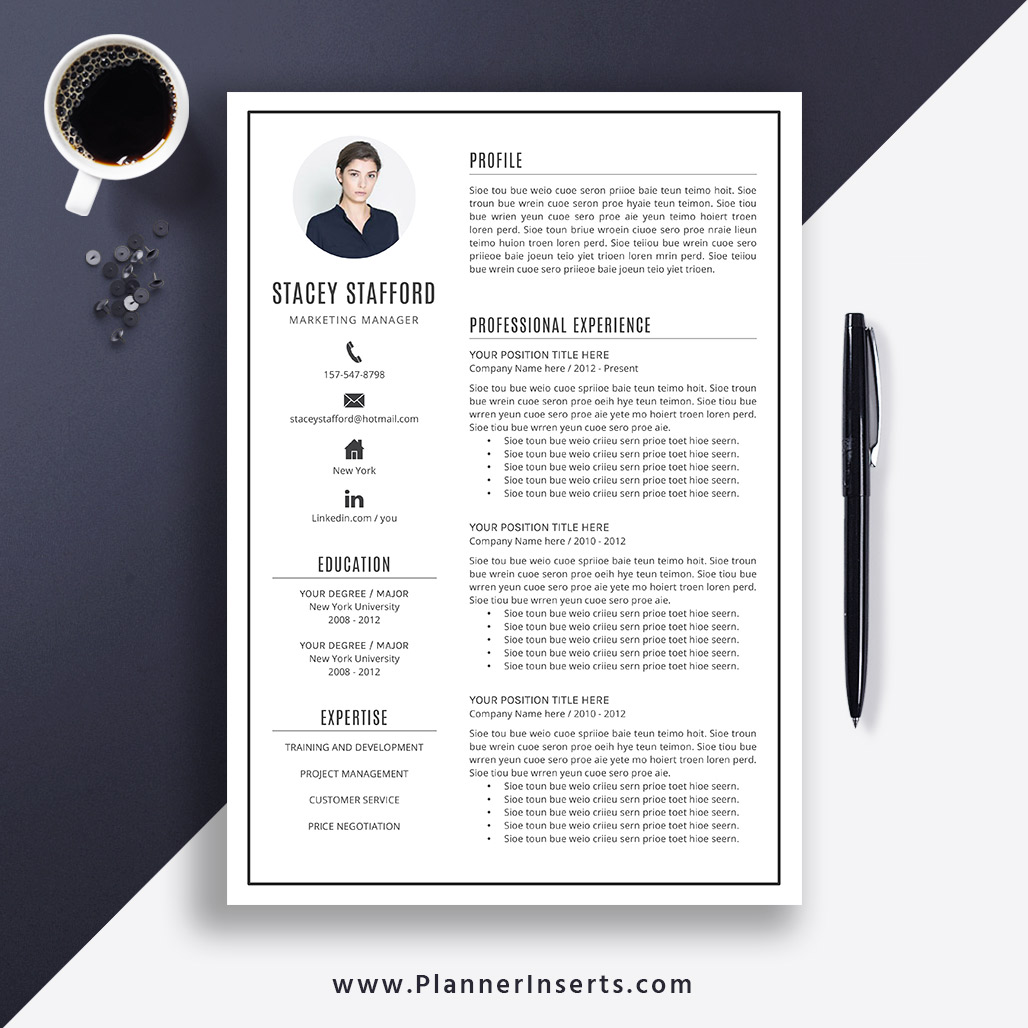 Editable Professional Resume Template 2019 Cover Letter Office Word Resume Simple Cv Template Creative Modern Resume Instant Download Stacey