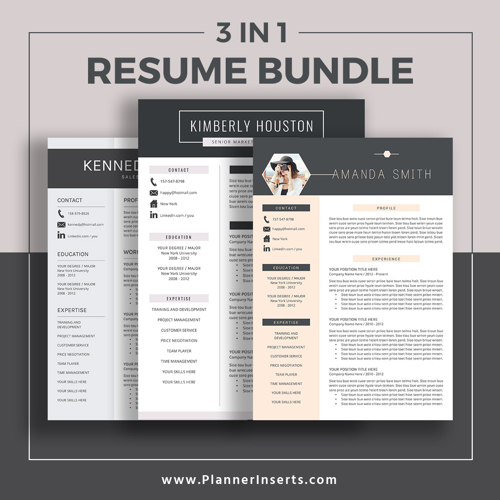 Editable Professional Resume Bundle 2019, Cover Letter, Simple CV Template,  Office Word Resume, Creative & Modern Resume Design, Mac & PC, Instant ...