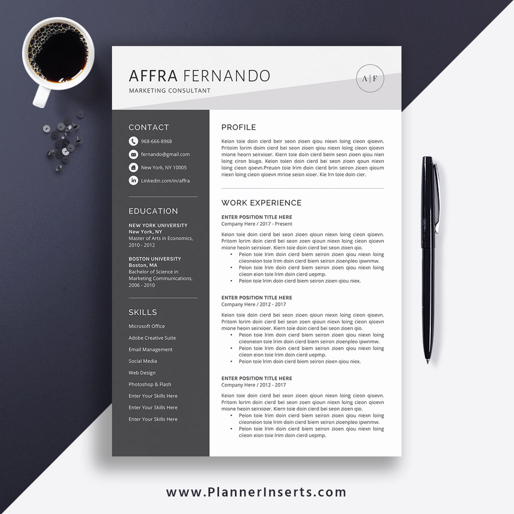 2020 Resume Template Cv Template Office Word Resume Cover Letter Resume Fonts Resume Icons Editable Resume Simple Clean Resume Instant
