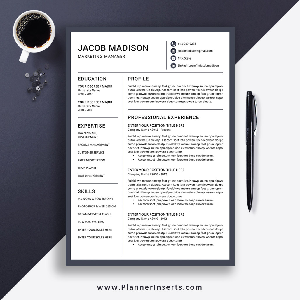 Editable Professional Resume Template 2020, CV Template Word, Creative &  Modern Resume, College Student Resume, Fresh Graduate Resume, Internship ...