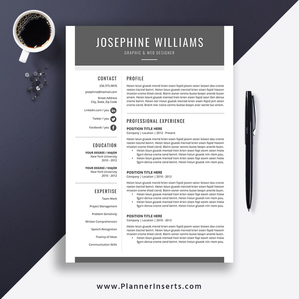 Modern & Simple Resume Template 2020, Cover Letter, Editable CV Template,  Word Resume,1-3 Page Resume, Resume Icons, Resume Fonts, Resume Editing ...